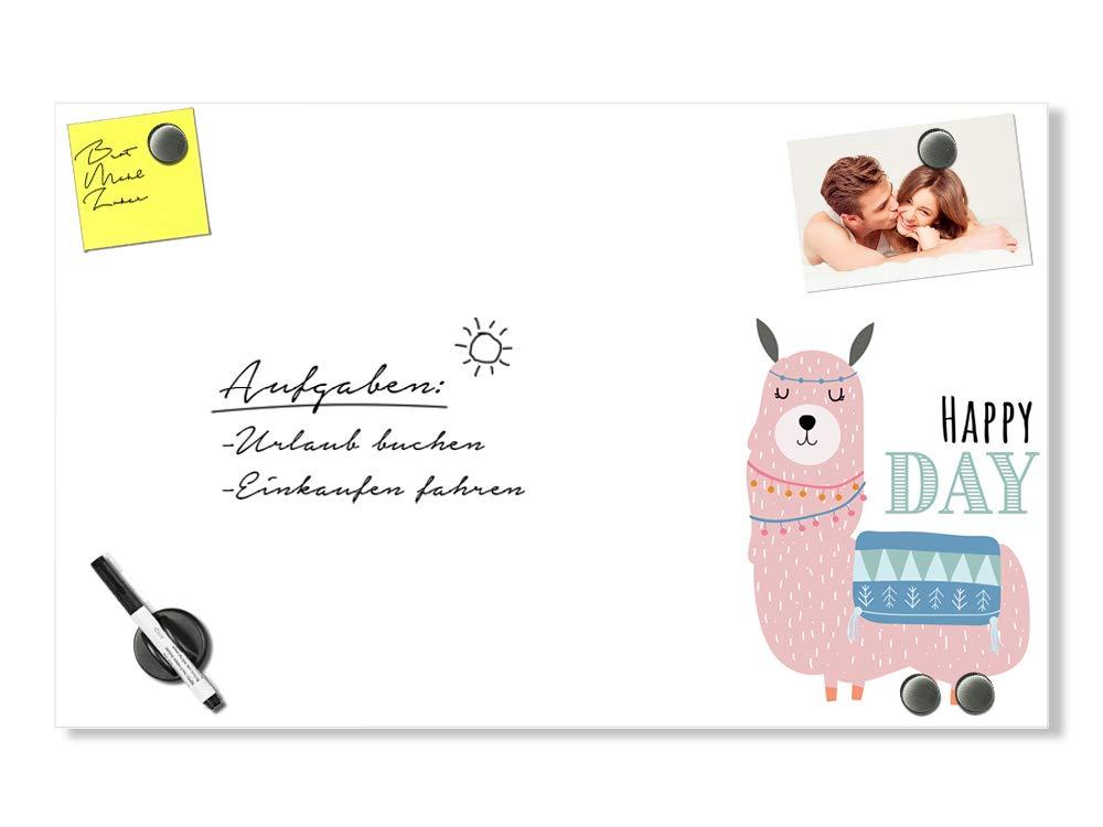GRAZDesign Wandtafel weiß - Magnettafel Küche Happy Day - Schreibtafel für Kinderzimmer - Magnettafel Glas Lama   80x50cm   502062_80x50_GL_MT