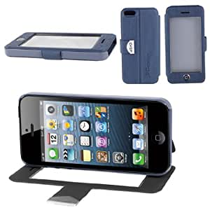 Dark Blue PU Leather Flip View Stand Case Cover for Apple iPhone 5 5S