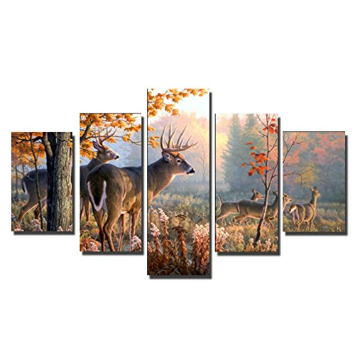 juyi-art-hd-painting-canvas-prints-for-home-decoration-stretched-5-pcs-deer-picture-print-on-canvas-