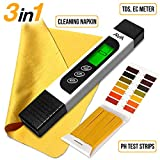 6 in 1 Water Quality Tester for Drinking Water - TDS EC & Temperature Meter - 0-9990 ppm - Ideal Water Testing Kit for Aquariums Hydroponics and More - PH Test Strips & Cleaning Napkin.