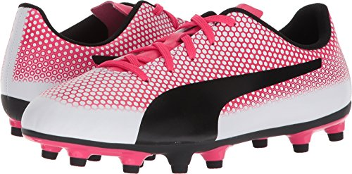 PUMA Unisex-Kids Spirit FG Soccer-Shoes, White Black-Paradise Pink, 1.5 M US Little Kid