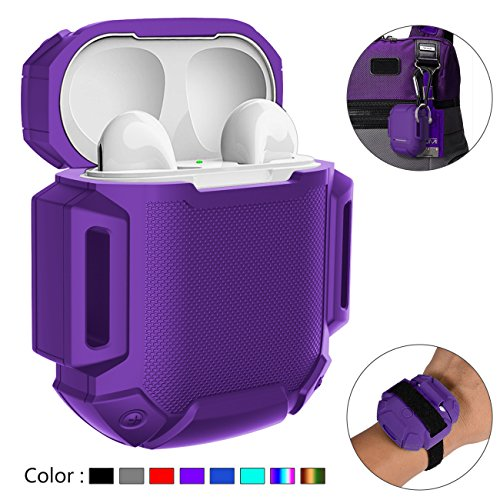 GOGOSODU Compatible AirPods Charging Case Protective Shock Resistant Silicone Cover Sports Design with Hard Sleeve and Keychain Compatible Apple Airpods
