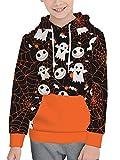 BesserBay Unisex Kid's Halloween Long Sleeve Hoodies Graphic Skull Skeleton Printing Sweatshirts Orange Pullover Tops 2-4T