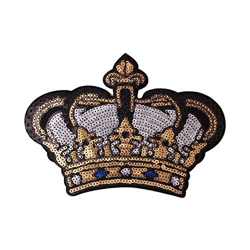 Gosear Exquisito Lentejuelas Ropa Parches Pegatinas patr¨n de la Corona Bordado DIY Iron-on Parche para Ropa Camiseta...