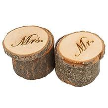 Set of 2pcs Mr & Mrs Shabby Chic Rustic Wedding Ring Pillow Bearer Box Wooden