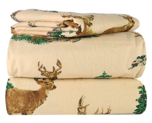 AM Home Fashion Piece 100% Soft Flannel Cotton Bed Sheet Set - Queen/King Size - Patterned Bedding Covers - 1 Flat Sheet, 1 Fitted Sheet, 2 Pillow Cases - Fade Resistant Designs, (Elk Design, king)
