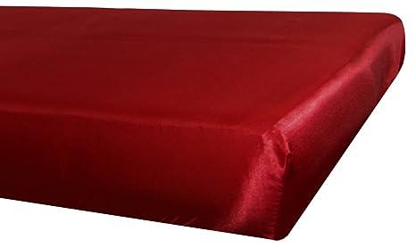 beties Glanz Satin Spannbetttuch anschmiegsam & edel in 3 Größen Farbe (Karmin-Rot) (160 x 200 cm)