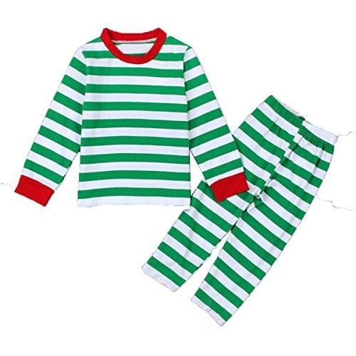 Baby Boys Girls Striped Christmas Nightwear Pajamas Sleepwear T-shirt and Pants Set (Christmas Nightwear)
