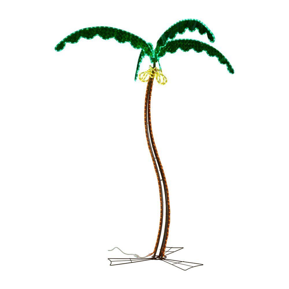 Green LongLife 8080122 7' Coconut Palm Tree with Green Leaves Decorative LED Rope Light 120v