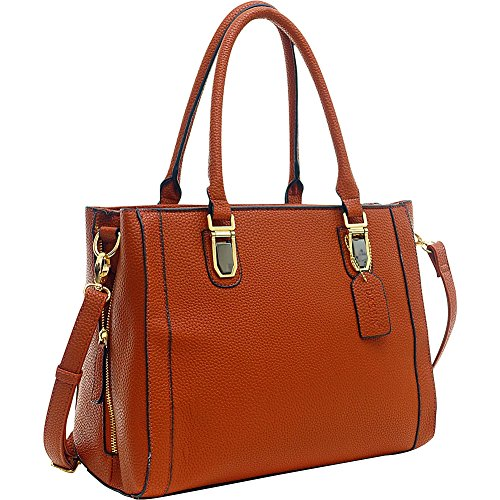 Dasein Buffalo Faux Leather Expandable Tote (Brown)