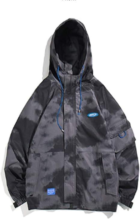 [YIMING] メンズ コート ジャケット 上着 フード付き トレンチコート ロングスタイル コート ゆったり カジュアル 個性 迷彩