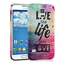 kwmobile TPU SILICONE CASE for Samsung Galaxy S5 / S5 Neo / S5 LTE+ / S5 Duos Design Live the Life multicolor dark pink blue - Stylish designer case made of premium soft TPU