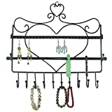 Ushoppingcart Women favorites Classic Heart Shape Wall Mounts Wall-mounted Jewelry & Accessory Storage Rack Organizer Shelf Holder,Jewerly Display Stand for Earrings/Necklaces/Bracelets (Black)