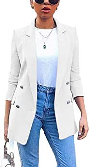 Romose Women's Blazer Long Sleeve Suit Jacket Solid Color Blazer Business Slim Fit Bolero Jacket Suit Trench Coat Cardigan