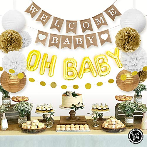 Sweet Baby Co. Baby Shower Decorations Neutral For Boy or Girl With Welcome Baby Banner, Oh Baby Foil Balloon, Paper Lanterns, Tissue Paper Pom Poms, Circle Garland | Rustic Gold and White Gender Neutral Baby Shower Decorations Set]()