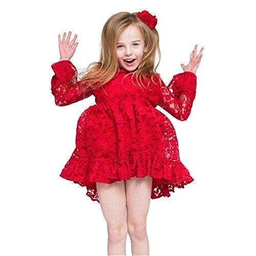 iPretty Vestido de fiesta para niña, para invierno y otoño rojo Red - Red: Amazon.es: Ropa y accesorios