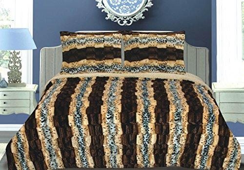 Luxurious 3pcs Set Faux Fur Animal Print Sherpa Borrego Reversible (Faux Fur Stripe Blanket)