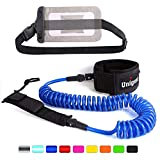Unigear Premium 10' SUP Leash, Paddle Leash Coiled Swivel Ankle Cuff with Waterproof Wallet for Standup Paddle Boarding and Surfboarding Surfing (White)