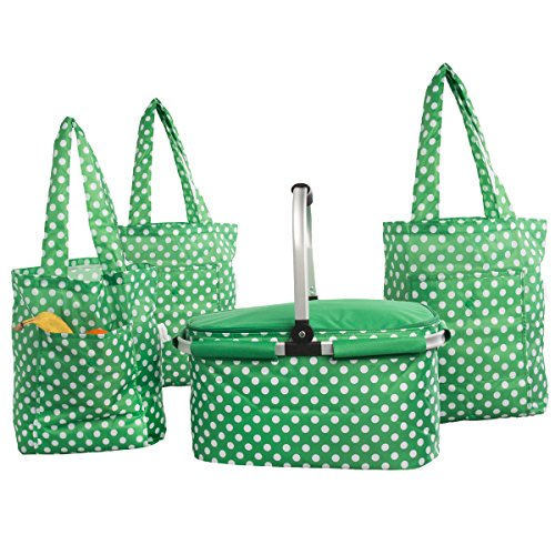(4pc Sachi Insulated Collapsible Shopping Bags and Basket with Handle & Picnic Folding Reusable Tote Bags)