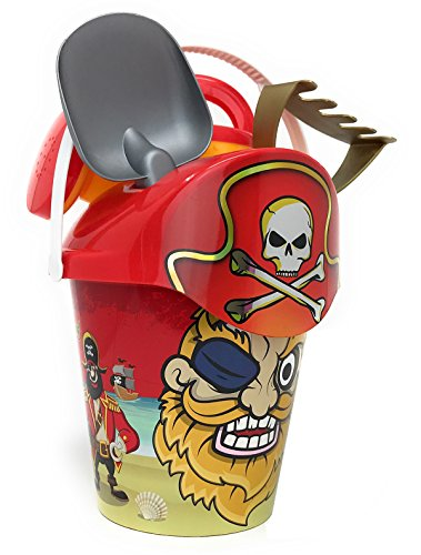 Clever Home Sand Bucket Set with Accessories for Kids - Boys and Girls (Red Pirate)