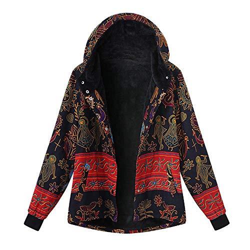 Magiyard Plus Taille Femmes Encapuchonn Longue Manche Ancien Dames Toison pais Manteaux Fermeture clair Manteau Multicolore