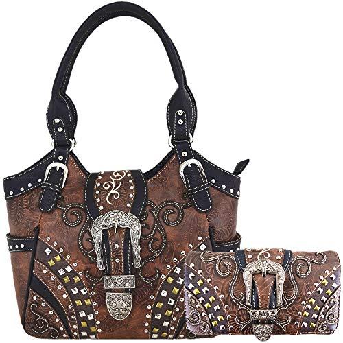 - Western Style Tooled Leather Buckle Concealed Carry Purse Country Handbag Women Shoulder Bag Wallet Set (#2 Brown Set)