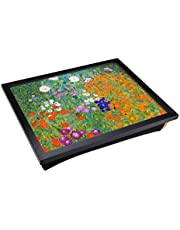 Lap Tray with Padded Cushion and Gustav Klimt Flower Garden Design Print | Laptop Computer Work Station or Meal Table with Artistic Flair | Comfortable and Space Saving Desk Surface