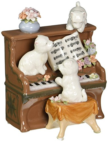 Cosmos 80096 Fine Porcelain Dogs and Piano Musical Figurine, 5-1 4-Inch