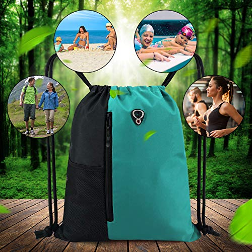 Drawstring Backpack Sports Gym Bag for Women Men Children Large Size with Zipper and Water Bottle Mesh Pockets
