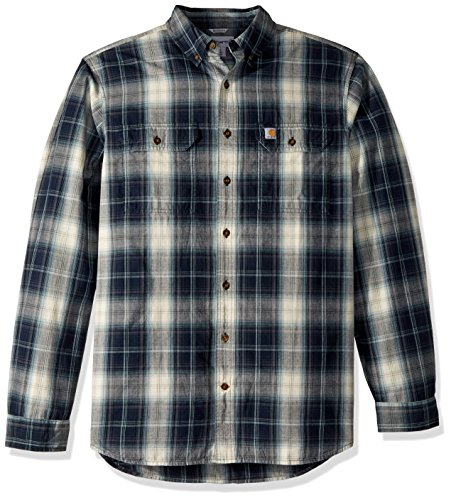 - Carhartt Men's Big & Tall Fort Plaid Long Sleeve Shirt,  Navy, X-Large/Tall