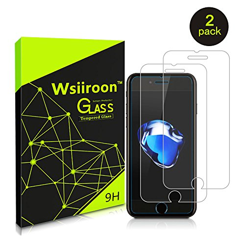 iPhone 8 7 Screen Protector, Wsiiroon iPhone 8 7 Tempered Glass Screen Protector Film,Bubble Free,Anti-Oil & Fingerprint, 9H Hardness,HD Ultra Clear(2 PACK)