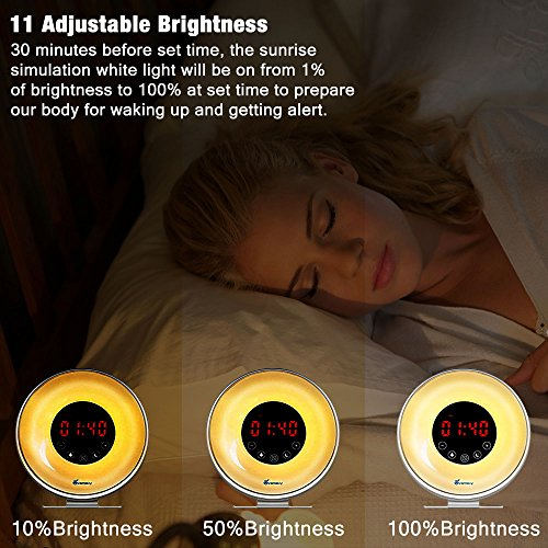 Wake Up Light, Vansky Sunrise Digital Alarm Clock for Heavy Sleepers with FM Radio, USB charger, 7 Colors, 6 Nature Sounds, Snooze Function, Touch Control Night Light Bedside Lamp