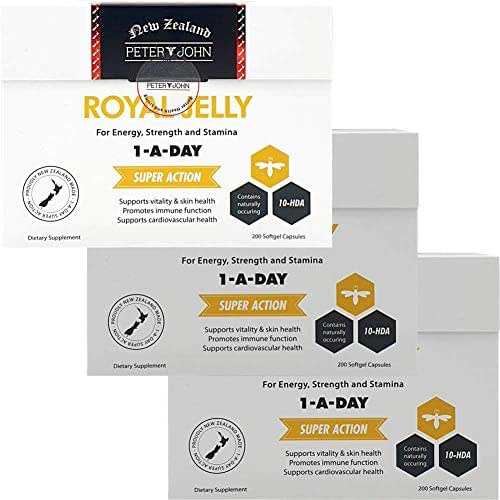 Royal Jelly 1000mg 200 Softgel Capsules 10-HDA Nutritional Supplements (3 Pack)