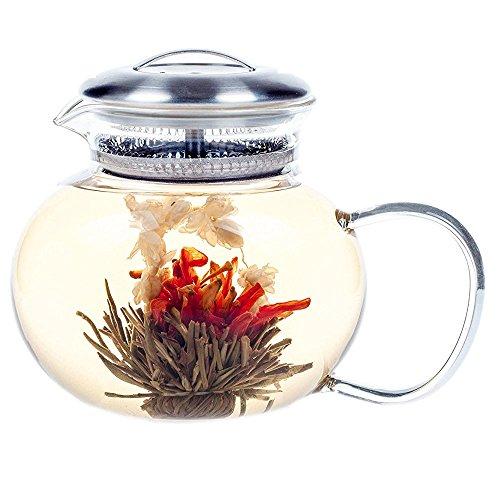 Hiware Large Flowering Teapot Royal 40 Oz, Good Glass Blooming Teapot 1200 ml Loose Leaf Tea Pot