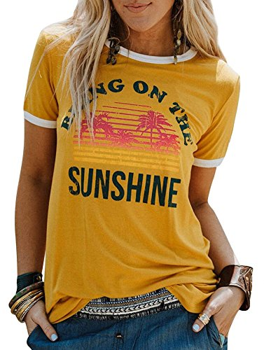 Vintage Ladies T-shirt - Women Long Sleeve T-Shirt Bring On The Sunshine Letter Print Casual Blouse Tops (Large, B Yellow)