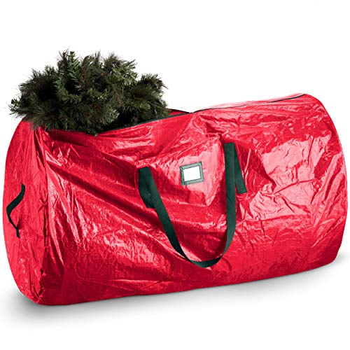 Artificial Christmas Tree Storage Bag - Fits Up to 9 Foot Holiday Xmas Disassembled Trees with Durable Reinforced Handles & Dual Zipper - Water Proof Material Protects from Dust, Moisture & Insects