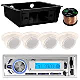 Pyle PLMR21BT USB/SD/MP3 Bluetooth Stereo Receiver Bundle Combo With 4x Magnadyne Ceiling/Wall Mount RV Mobile Home Satellite Box Speaker + Metra Universal Underdash DIN Kit + Enrock 50Ft Speaker Wire
