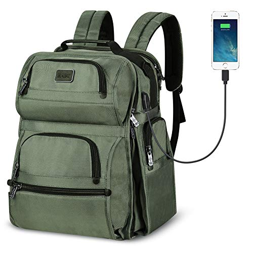 Large backpack, Laptop Backpack, travel backpack with USB Charging Port for Men Womens Boys Girls, Water Resistant College School Bookbag Computer Backpack Fits 17.3 Inch Laptop & Notebook(Army Green)