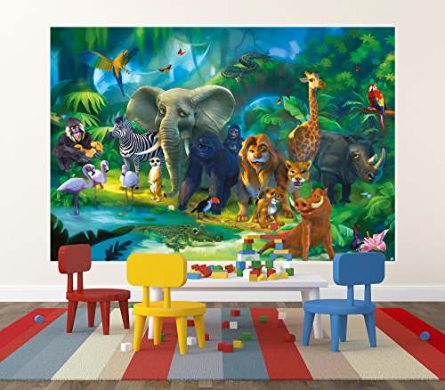Jungle animals safari wall decoration safari jungle for Poster mural xxl fleurs
