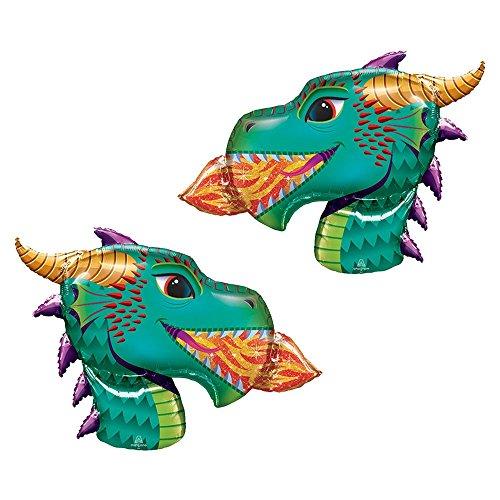 Set of 2 Fire-Breathing Dragon Head Jumbo 36