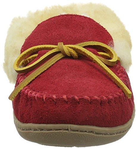 Minnetonka Low Alpine Women's Red Red Sheepskin Moc Top Slippers P6fAP