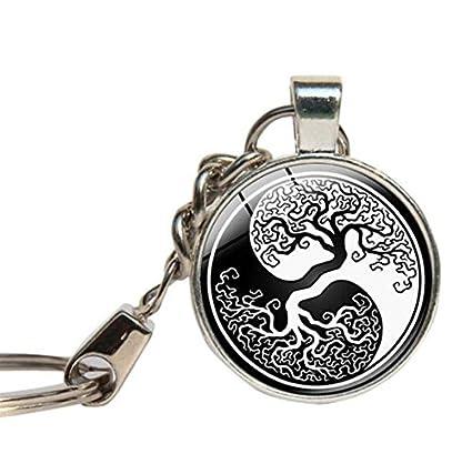 Yin Yang de árbol de la vida llavero, plata Yin Yang árbol ...