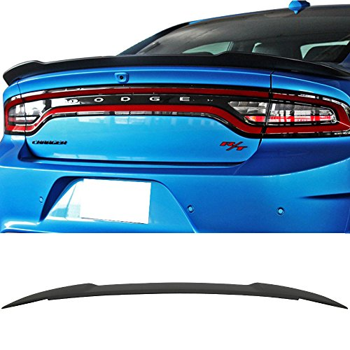 Trunk Spoiler Fits 2015-2018 Dodge Charger | Matte Black ABS Car Exterior Trunk Spoiler Rear Wing Tail Roof Top Lid by IKON MOTORSPORTS | 2016 2017