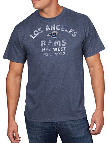 NFL LA Rams Men's Return Yardage Program Short Sleeve Basic Tee, X-Large, Navy Heather