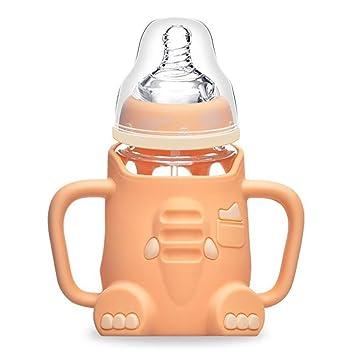 HTTMYY ReciéN Biberones Nacidos Calibre Ancho Vidrio Botella Bebé Con EmpuñAdura Funda De Silicona Antideslizante Dibujos