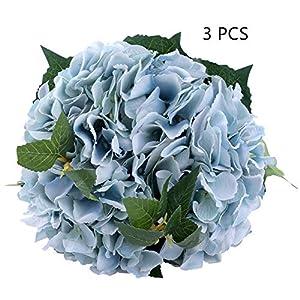 MEIBEL 3pcs Artificial Hydrangea White Fake Silk Flowers Bouquet for Wedding Floral Arrangements and Home Decoration 43