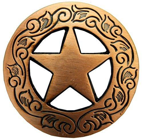 Western Rhinestone Star Concho (Western Engraved Texas Ranger Star Concho Copper)