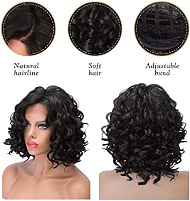 Natural Hair Lace Front Wigs Synthetic For Women Glueless Synthetic Black Hair Body Wave Short Cut Wigs L Parting Half Tied Wigs Buy Online At Best Price In Uae Amazon Ae