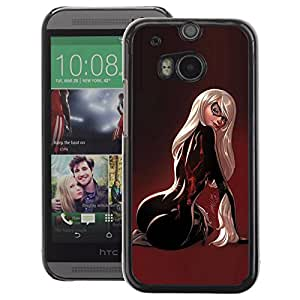 A-type Arte & diseño plástico duro Fundas Cover Cubre Hard Case Cover para HTC One M8 (Back Sexy Woman Maroon Latex Butt)