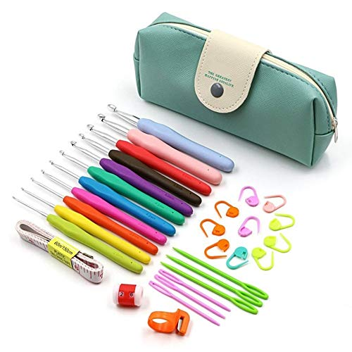 (Dalab 11 Pieces/Full Set of Double Aluminum Crochet Bags, Hooked with Triangular Hook, and Then with Ergonomic Handle, Crochet Within - (Color: Green))